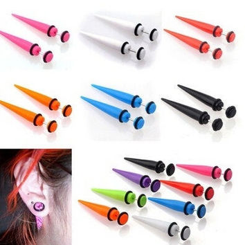 New Illusion Ear Fake Cheater Stretcher Rivet Taper Plug Tunnel Gauges Party Hot = 1946247812