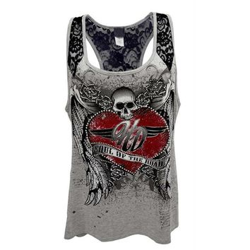 Skull Print Cotton Casual Sleeveless Women Lace Tank Top