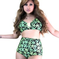 Pin up Style Marijuana Print Swimsuits