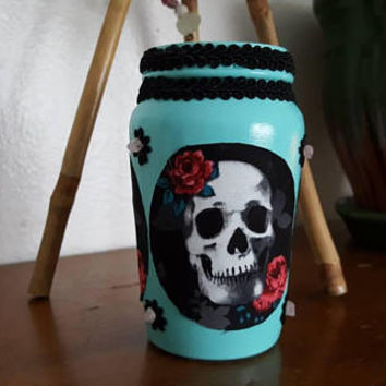 Makeup Brush Holder, Skull Decor, Handmade, Recycled, Luxury Decor, Tiffany Blue Jar, Makeup, Dorm Room Decor, Makeup Holder, Organizer