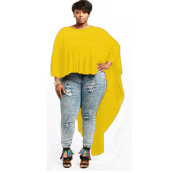Yellow Batwing Sleeve Loose Long Back Top