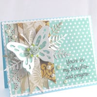 Thoughts and  Prayers Card, Handmade Card, Teal Polka Dotted Card,  All Occasion Card, Greeting Card, Thinking of you Card, Cardamoms Art.