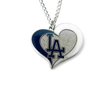 Los Angeles Dodgers Women's Swirl Heart Necklace