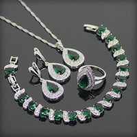 Teardrop Green Garnet / White Topaz Jewelry Set