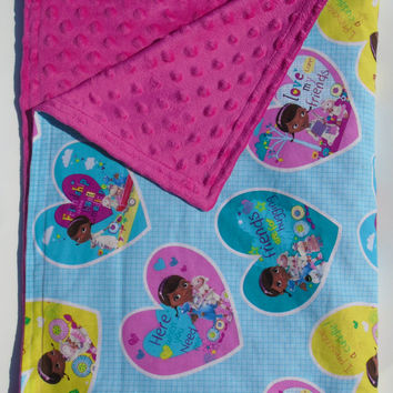 Personalized Doc McStuffins Minky Blanket, Doc McStuffins Bedding, Toddler Blanket, Kids Bedding, Toddler Bedding, Minky Blanket