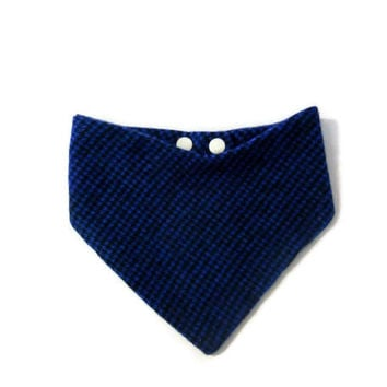 Houndstooth Bandana Bib, Royal Blue and Black, Drool Bib, Triangle Bib, Baby Boy Bib, Size Newborn to Size 24 months