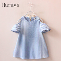 Hurave Casual Baby Girl Summer Striped Dress
