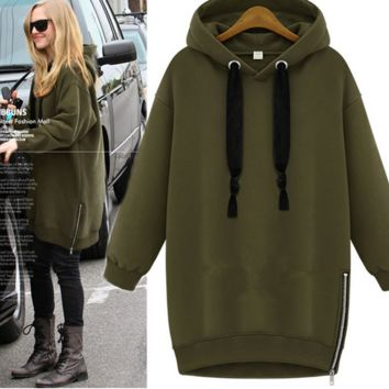 Plain Long Sleeve  Loose Hoodie Sweatshirt