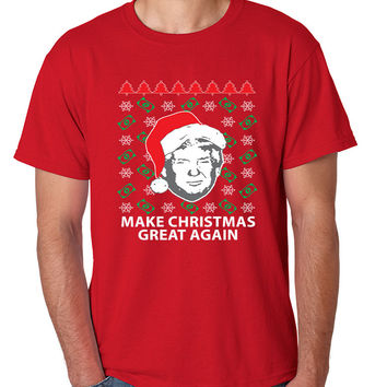 Men's T Shirt Trump Christmas Great Again Money Snow Ugly Xmas