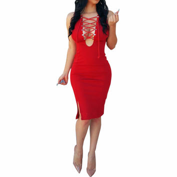 Women Sexy Nightclub Pencil Dress 2016 New Summer Sleeveless Solid Color Cross Straps Deep V Neck  Bandage Sheath Dress  blm4441