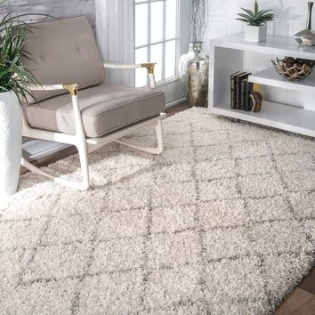nuLOOM Soft and Plush Moroccan Trellis Natural Shag Rug (5' x 8') | Overstock.com Shopping - The Best Deals on 5x8 - 6x9 Rugs