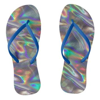 holographic silver flip flops shoes sandals