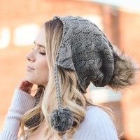 Cable Knit Ear Flap Beanie Cap Hat in Gray