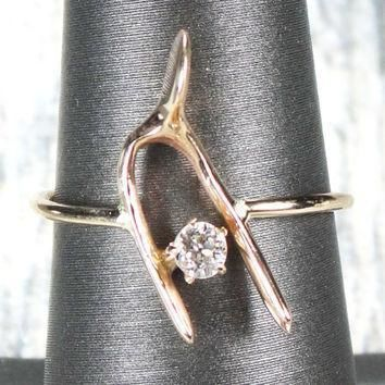 vintage 14k gold wishbone ring old mine cut diamond ring stickpin conversion stickpin