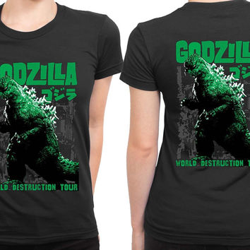 Godzilla 2 Sided Womens T Shirt