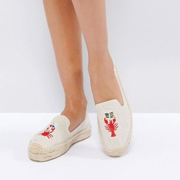 Soludos x Mary Matson Natural Lobster and Crab Double Platform Espadrilles at asos.com