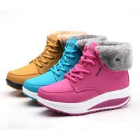 2016 new Winter  female plus velvet swing shoes snow platform  winter boots women thermal cotton-padded shoes flat ankle   boots