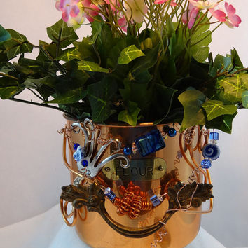 Whimsical Repurposed Copper Plated Flour Canister Planter Tea Bag Holder P-07