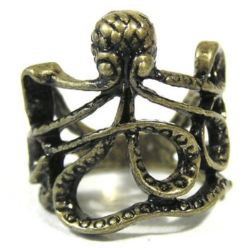 Octopus Ring Size 4 Sea Monster Squid Kraken Steampunk RH00 Antique Gold Tone Fashion Jewelry