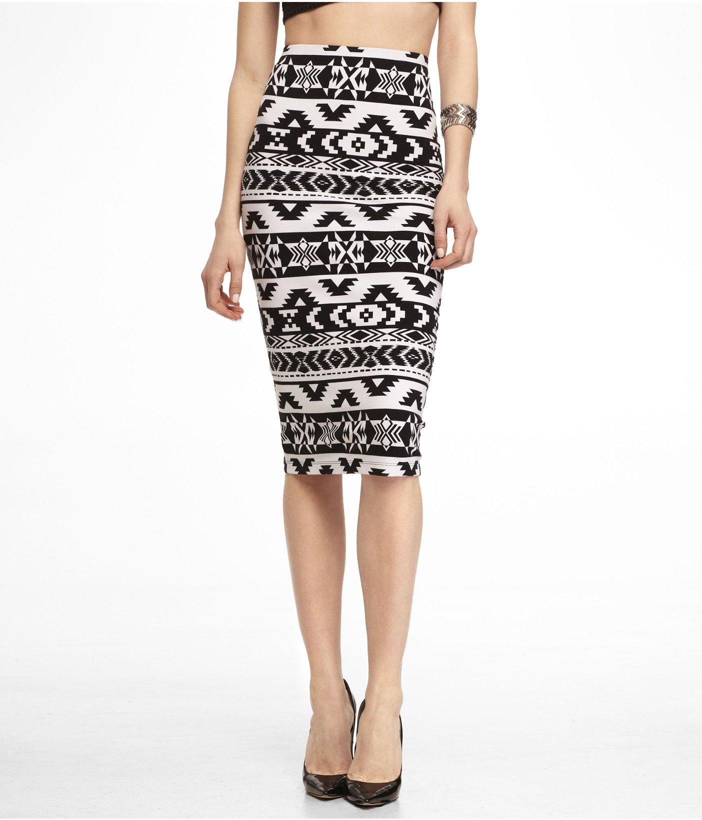 knit aztec print midi pencil skirt from express bottoms