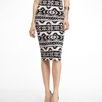 KNIT AZTEC PRINT MIDI PENCIL SKIRT