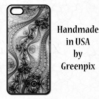 Black lace iPhone 4 case, lace iPhone 5 case, lace iPhone 5C case, lace Galaxy S5 case, lacy, feminine, pattern, black and white phone cover
