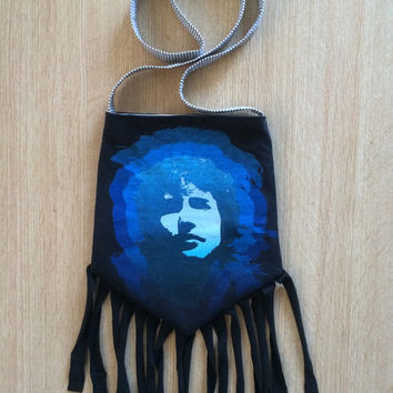 JAMES BLUNT - Upcycled Rock T-Shirt Fringe Purse - ooaK