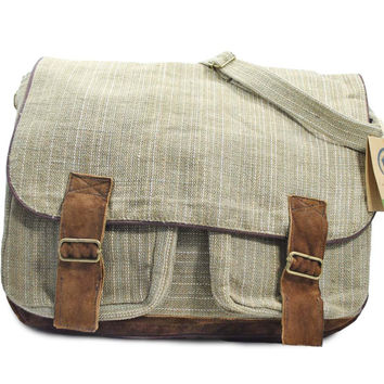 Mato Hemp Crossbody Satchel Laptop Shoulder Messenger Bag Suede Buckle Unisex