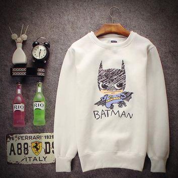 Fall and winter new cartoon Batman man and woman lovers sets of head sweater coat tide