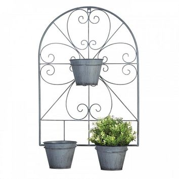 Flower Pots On Scrollwork Trellis