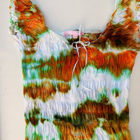 Girl's Summer Cotton Top - Ice Dyed Upcycled Peasant Top - Great Colors for All Seasons - Size - Girl's Large