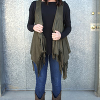 All About Fringe Vest {Olive}