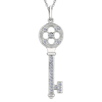 Sterling Silver Rhodium Plated Finish Round Head Key Necklace With CZ - 18 Inch