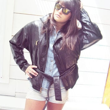 Vintage Black Leather Biker Jacket  M L  Wilson by wayfarervintage