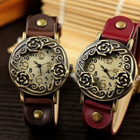 2016 vintage antique rose quartz electronic high-grade watch classic Korean fashion fashion [7899545927]