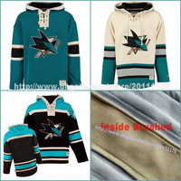 Top Quality Men's Old Time Hockey San Jose Sharks Blank Custom Jersey Hoodie Authentic Hoodies Jerseys Winter Sweatshirts Black Cream Shirt