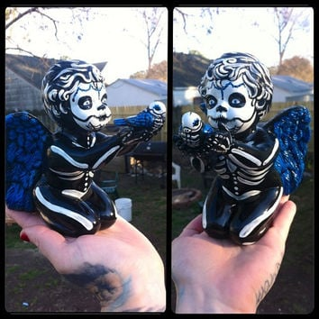 Day of The Dead hand painted Cherub Angel with skeleton bird Los Angelitos figurine