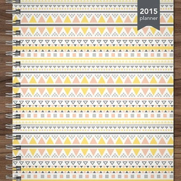 2015 planner personalized planner student planner teacher custom weekly monthly calendar agenda daytimer / yellow pink tribal pattern