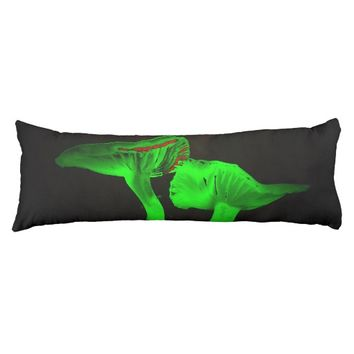 green flowers body pillow