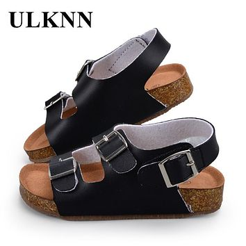 ULKNN Children Shoes Kids Sandals Boys Girls For School PU Leather Breathable Flats Summer Beach Shoes While Black Sandals
