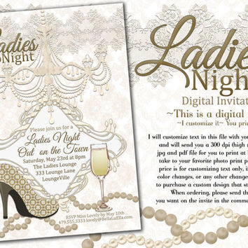 Bachelorette Party Invitation, Lingerie Shower, Ladies Night Out Invitations