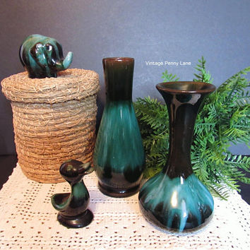 Vintage Blue Mountain Pottery Lot, Vases, Duck, Elephant, Blue / Green Drip Glaze
