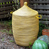 """27"""" African Basket with Lid - Yellow"""