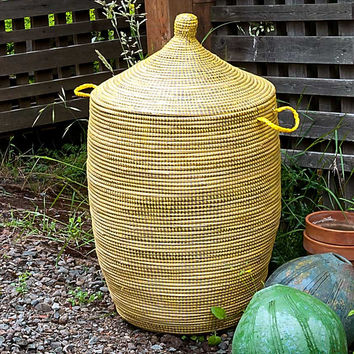 "27"" African Basket with Lid - Yellow"