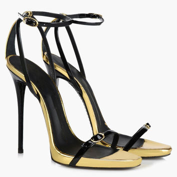 Black Buckle Stiletto Heel Patent PU Dress Sandals
