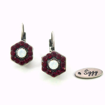 Swarovski crystal red and white opal pentagon shape earrings, multi-stone Siggy bling