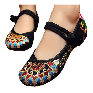 Square Dance Old Beijing Cloth Shoes Embroidered National Style    black