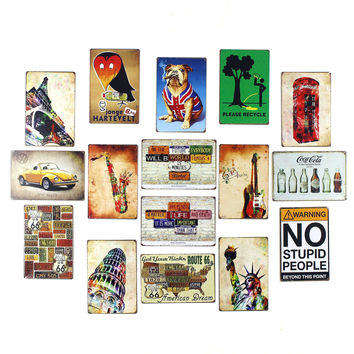 Retro Mix Vintage Tin Sign Wall Decor No Stupid People Cigar Pug UK Status of Liberty London Red Phone Booth Saxaphone VW Beetle Route 66 Poetic Licenses Coca Cola Please Recycle 20x30cm