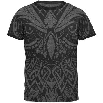 DCCKJY1 Trippy Tribal Owl Mens Ringer T Shirt