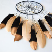 Coffee Gold  Dream Catcher, Gift For Him Her, Native Dream Catcher, Gold Feather Dreamcatcher Decor, Bedroom Wall Decor
